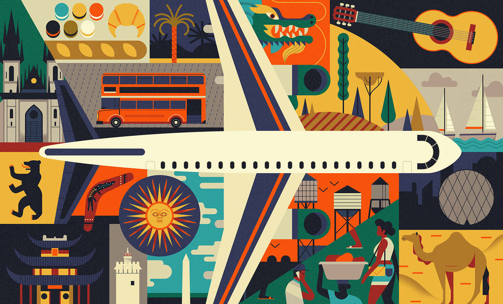 NYU-New-York-Illustration-Owen-Davey-Travel-Plane-London-Bus-Guitar-Tuscany-Camel-Dubai-Shanghai-Dragon-Baguette-Berlin-Boomerang-Skyline-Argentina_1600_c.jpg