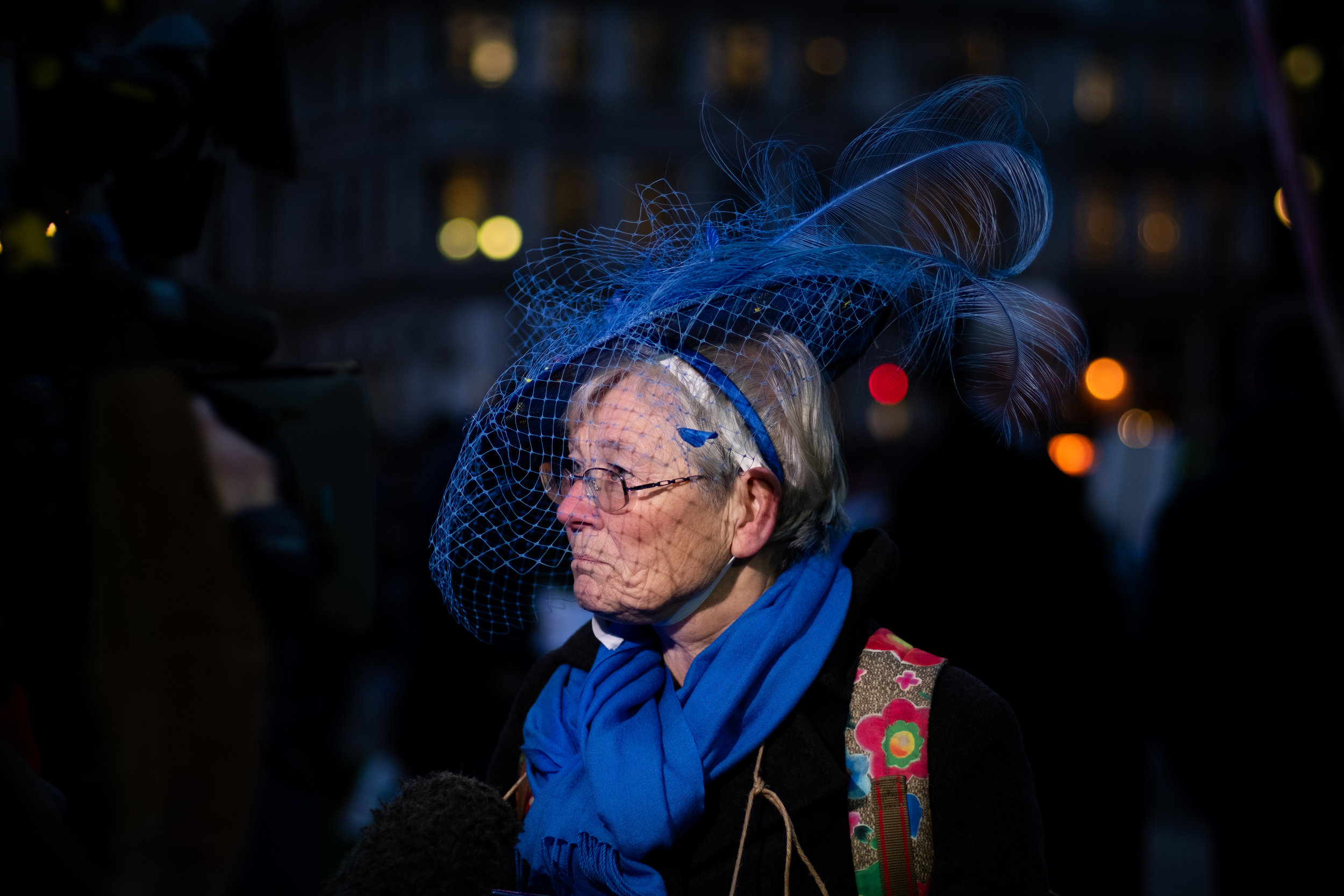 While the Final Vote on Theresa`s May Brexit Deal is ongoing, protesters demonstrate outside the House of Parliament, on the 15th January 2019, in London, UK.