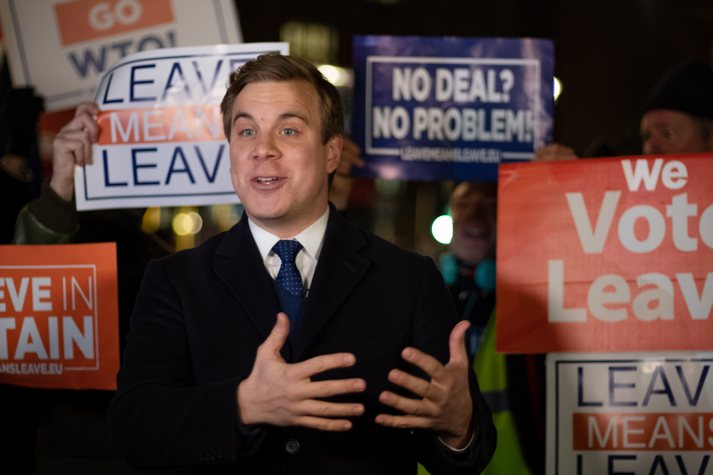 While the Final Vote on Theresa`s May Brexit Deal is ongoing, reporters broadcast the protest outside the House of Parliament, on the 15th January 2019, in London, UK.