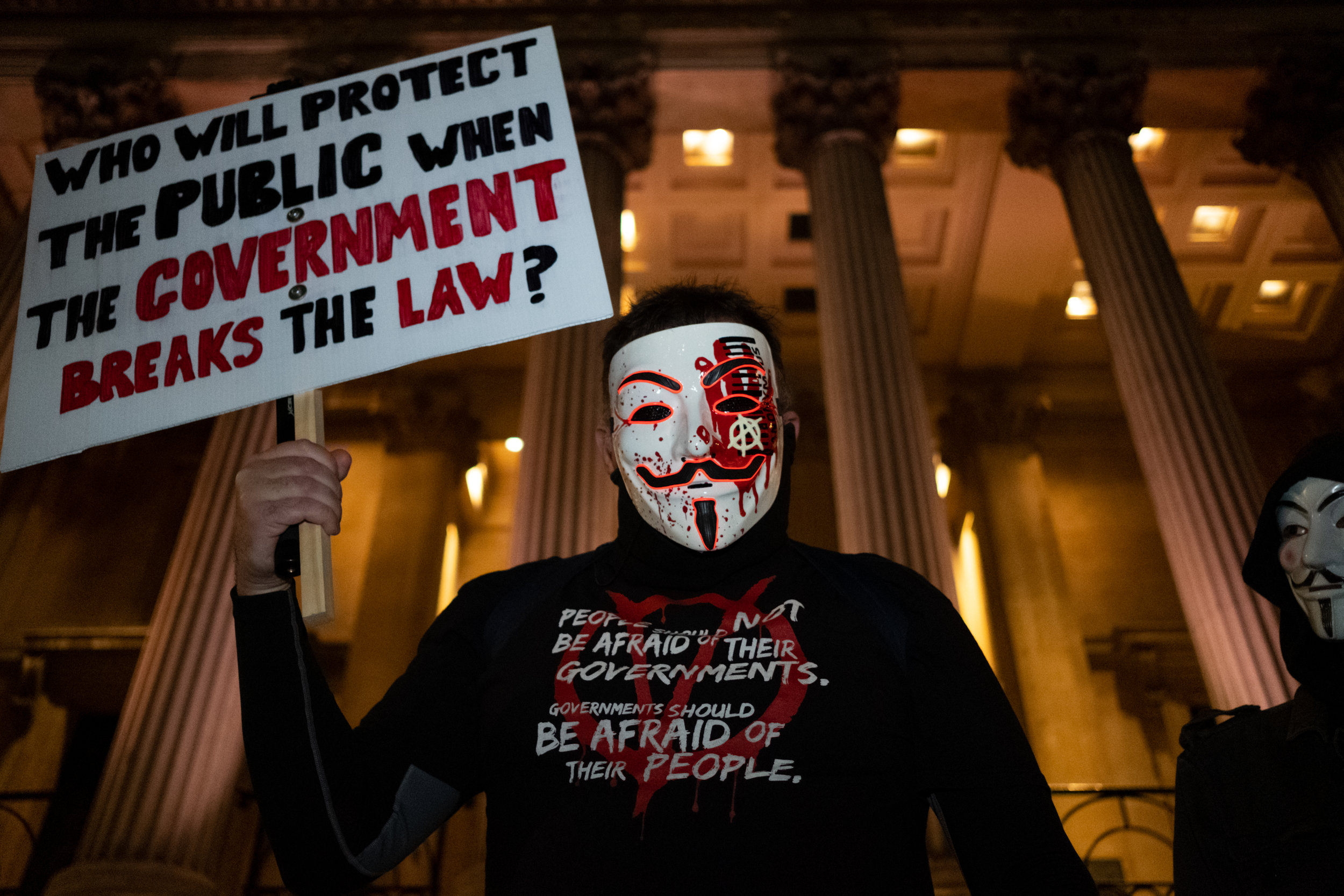 Million Mask March rally in central London on the 5th November 2018 with Anonymous supporters wearing the iconic Guy Fawkes mask.