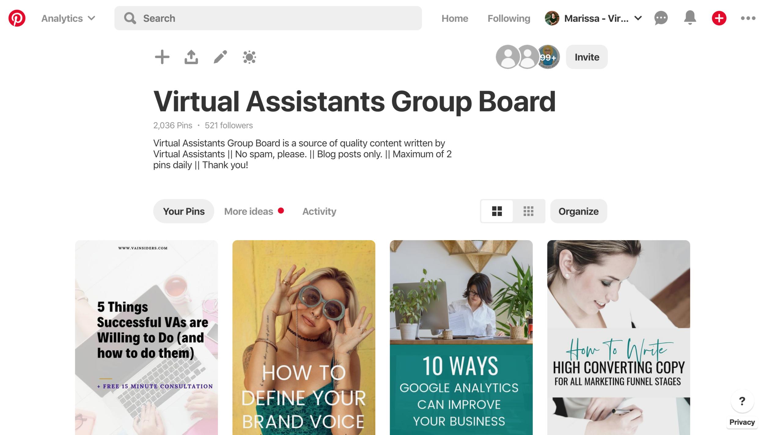 Virtual Assistants Group Board - #virtualassistant #pinterestva #pinterest #socialmedia #groupboard