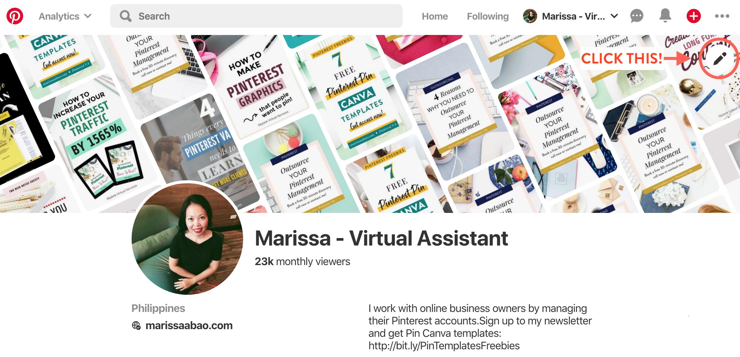Pinterest Profile #pinterestvirtualassistant #pinterestva #virtualassistant #pinterestmanagement