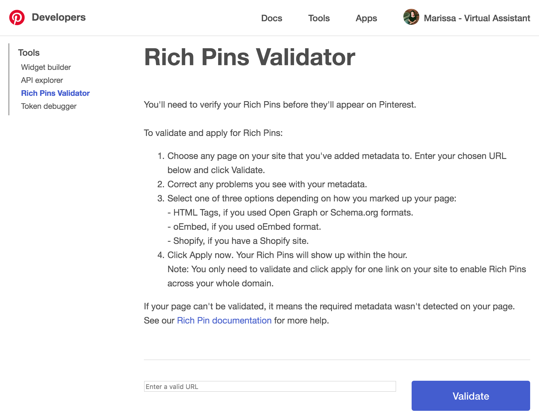 Rich Pins Validator #pinterestvirtualassistant #pinterestva #pinterestmanagement #pinterest #virtualassistant
