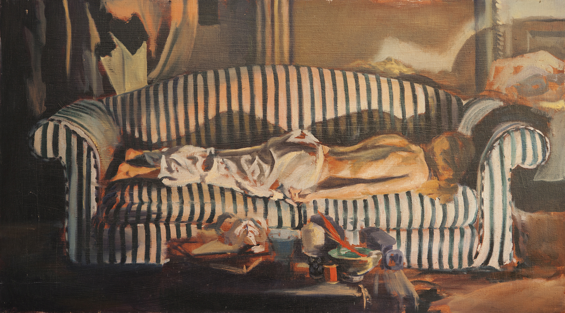 'Annick resting on the striped couch'. Oil on wood panel. 97cm x 53cm. (2009).jpg