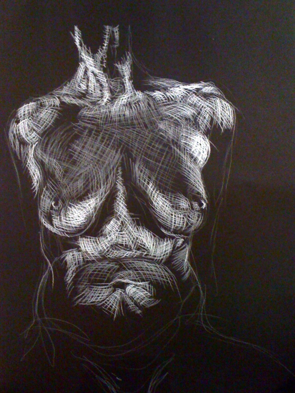 'Figure study'. White charcoal on black paper. 46cm x 61cm. (2010).JPG