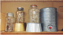 BEVERAGE DISPENSERS  QUANTITY: 4 {GLASS} 1 {METAL} RENT: $5 EACH