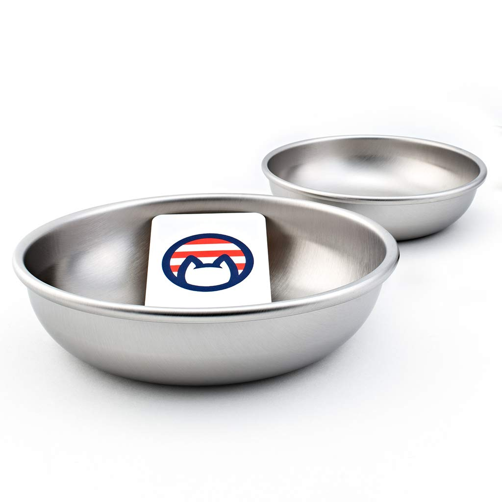 CAT BOWLS 5.75 INCHES WIDE X .5 INCHES DEEP. HOLDS UP TO 16 OUNCES