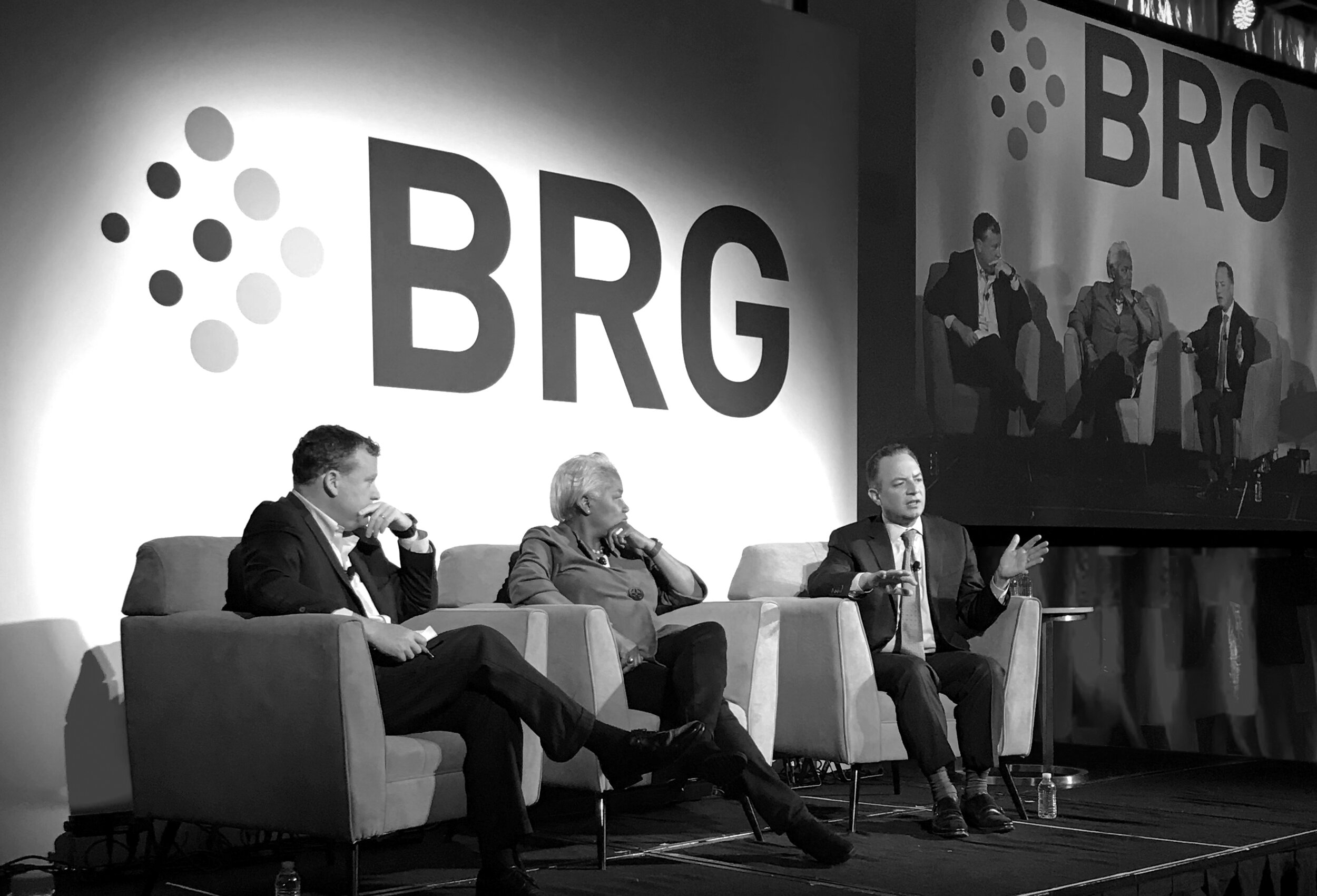 John Kelliher, Donna Brazile, and Reince Priebus at the 2018 BRG Healthcare Leadership Conference.