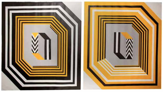 2016.Diptych. Electroestatic painting and resin on canvas. 41 x 35 in /each