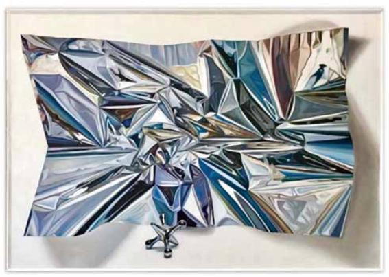 Untitled Metallic Paper  2017 Oil on Canvas, 2x1.35m