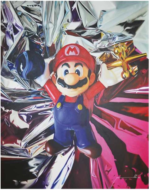 Super Mario.Oleo sobre tela | Serie Game Over | 1.80 x 1.35 cms.