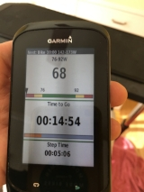While doing the workout you see the step time remaining, power zones and at the top what is the next step in the workout