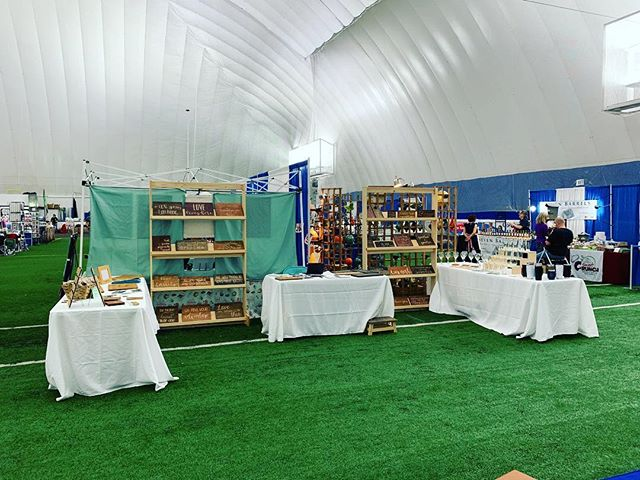All set up for @gnecraftartisanshows 10-4 today and 10-3 tomorrow! Lots of vendors and LOTS of CHOCOLATE! . . #craftfair #milfordnh #hampshiredome #greatnewenglandcraftfair #etsy #woodworking #woodsigns #laserengraving #tumblers #customsigns #customglasses #customtumblers #madeinNH #NHmade