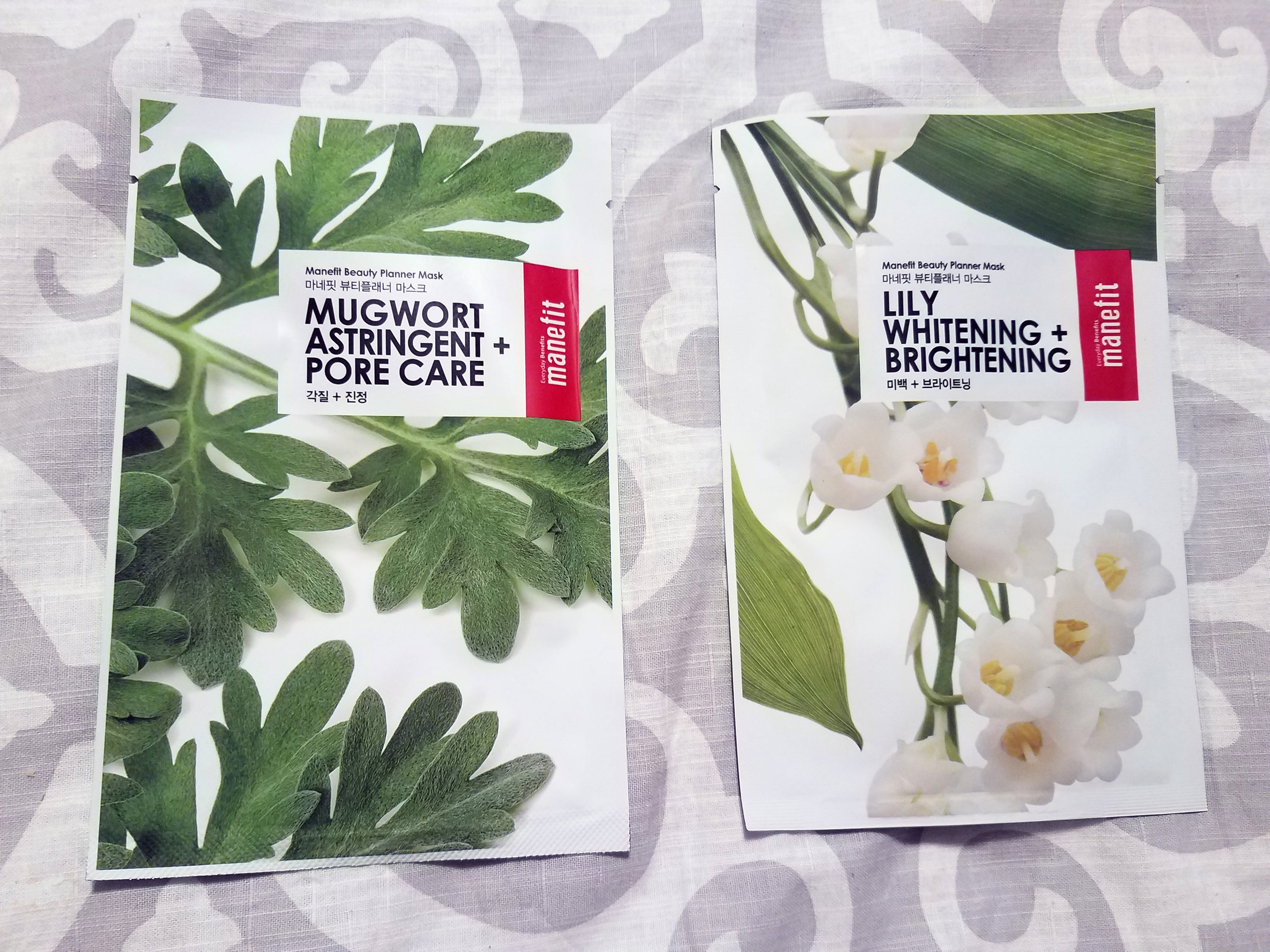 Manefit Beauty Planner Mask -Mugwort, Astringent + Pore Care and Beauty Planner Mask - Lily, Whitening + Brightening