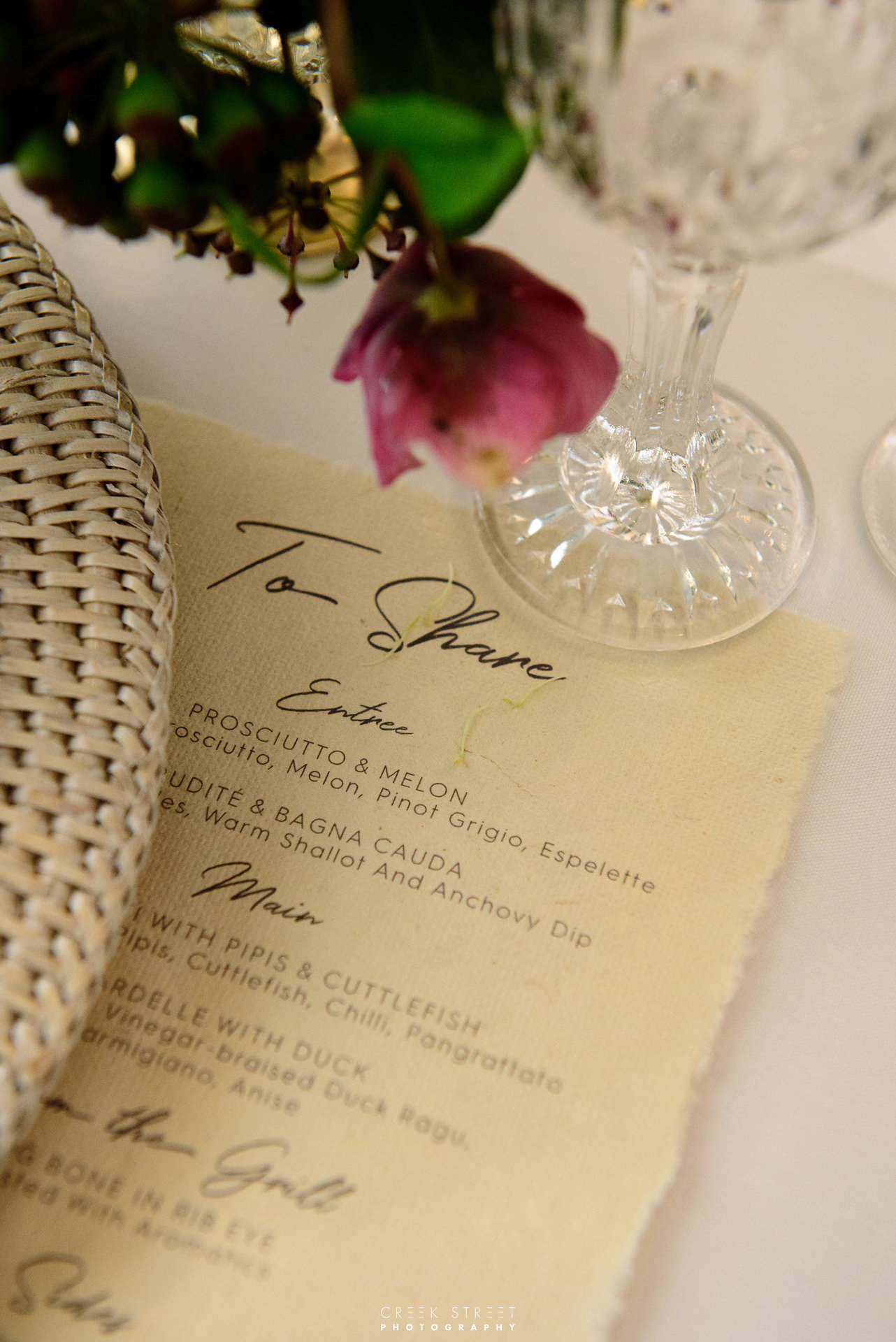 Bespoke Wedding Menu