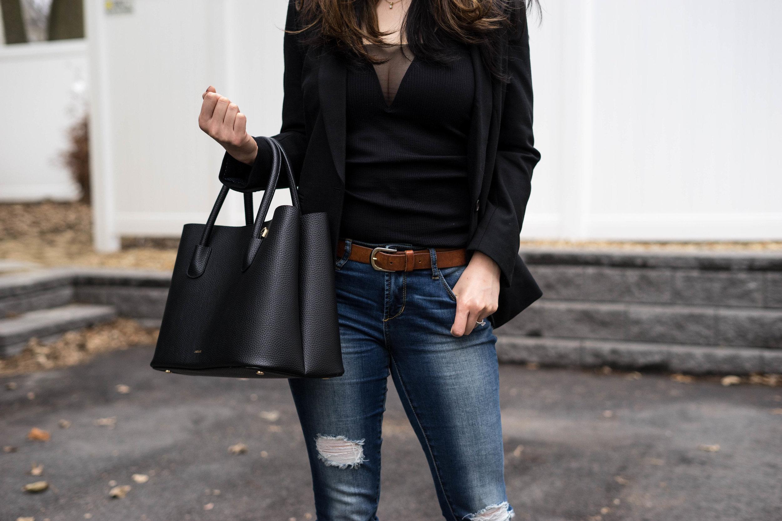 J.Crew Blazer & Jeans with a V-Neck Mesh Tank Top -TheNinesBlog.com: A Boston Blog