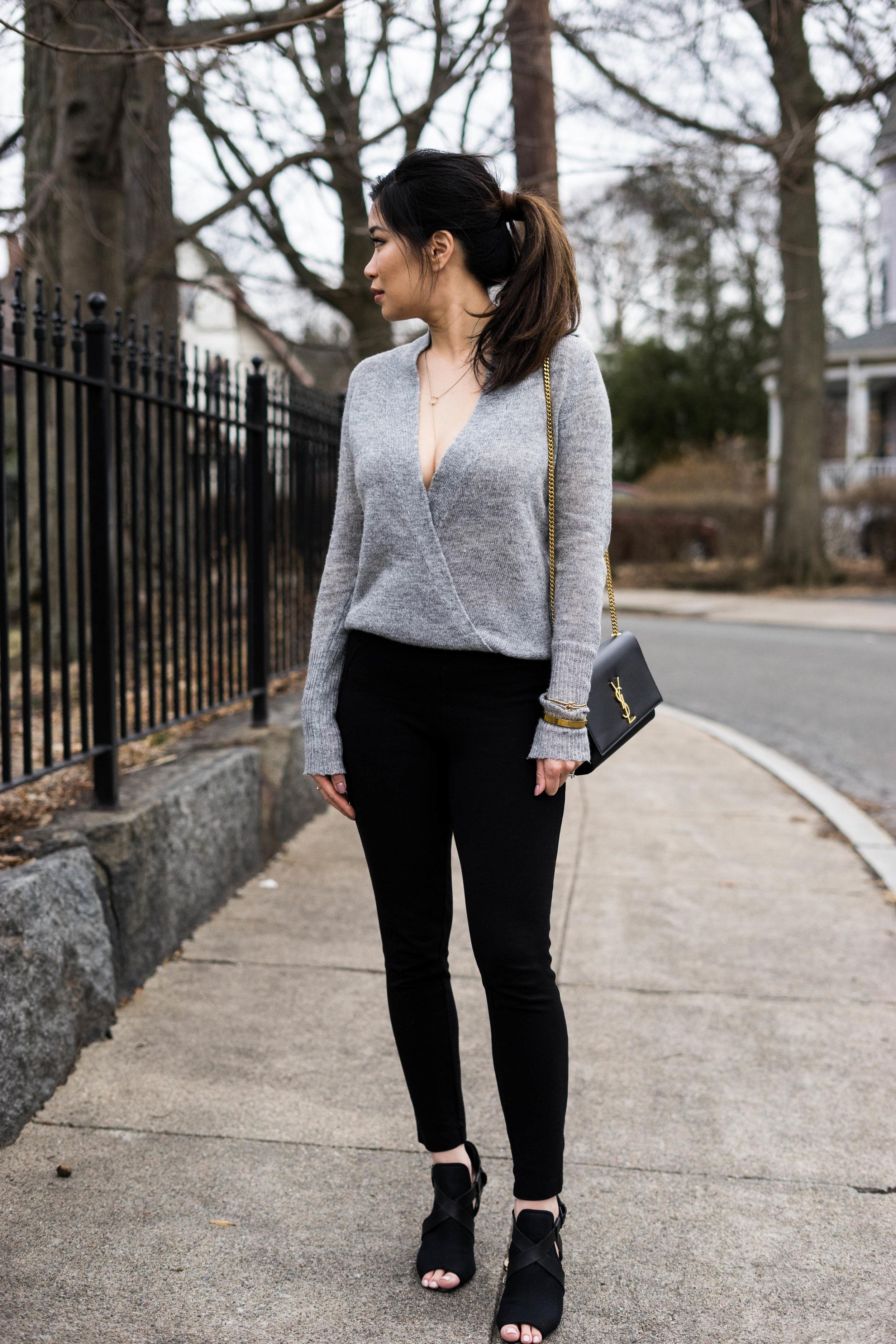 Lulu's Wrap Sweater & Brass Ponte Pants - TheNinesBlog.com: A Boston Blog