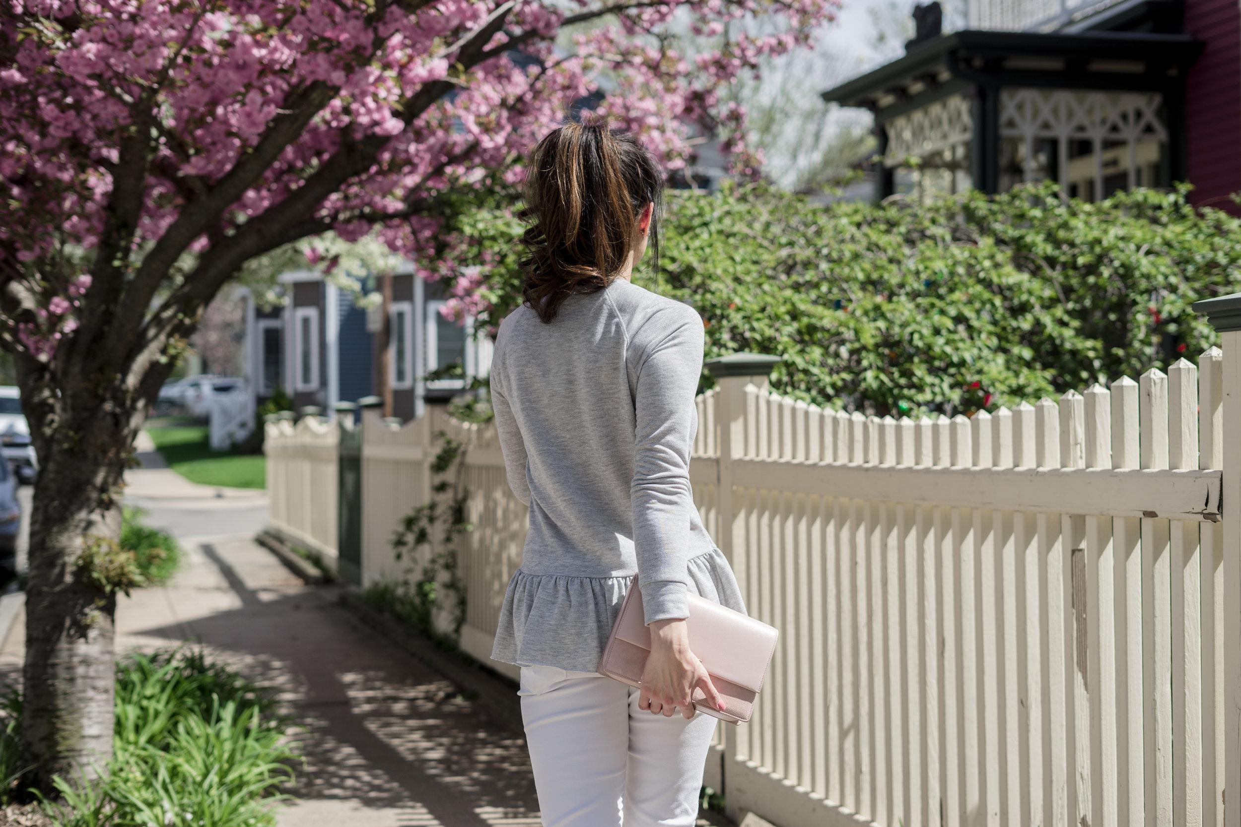 Casual Weekends with Gray Peplum Sweatshirt: TheNinesBlog.com - A Boston Blog