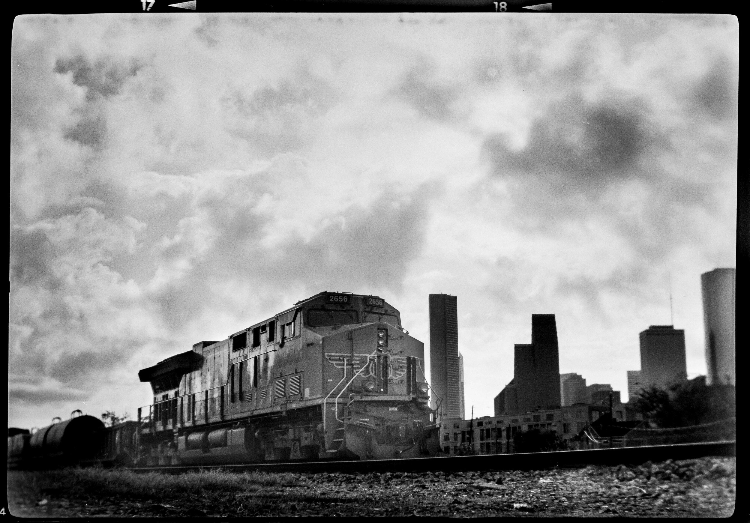 Freight train near Washington Avenue, Houston. Brownie No.2, Ilford HP5.