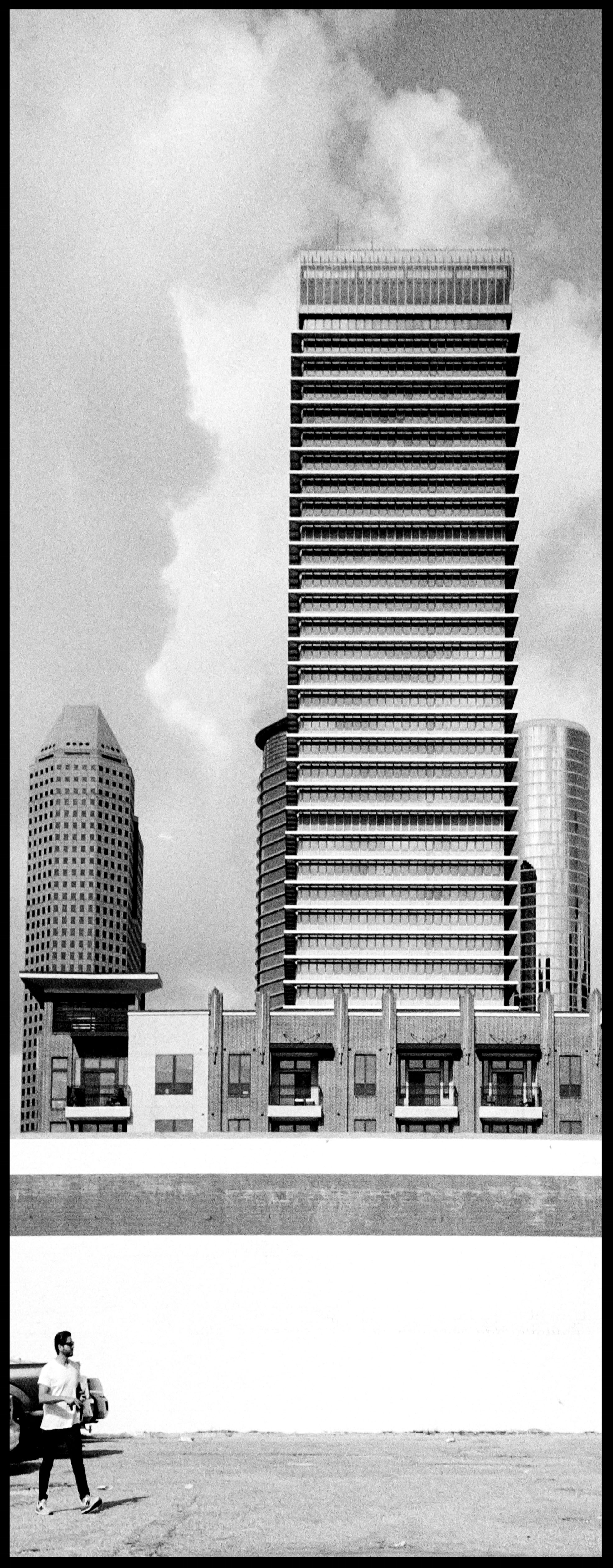 Downtown Houston, Rollei 35s, Ilford HP5.