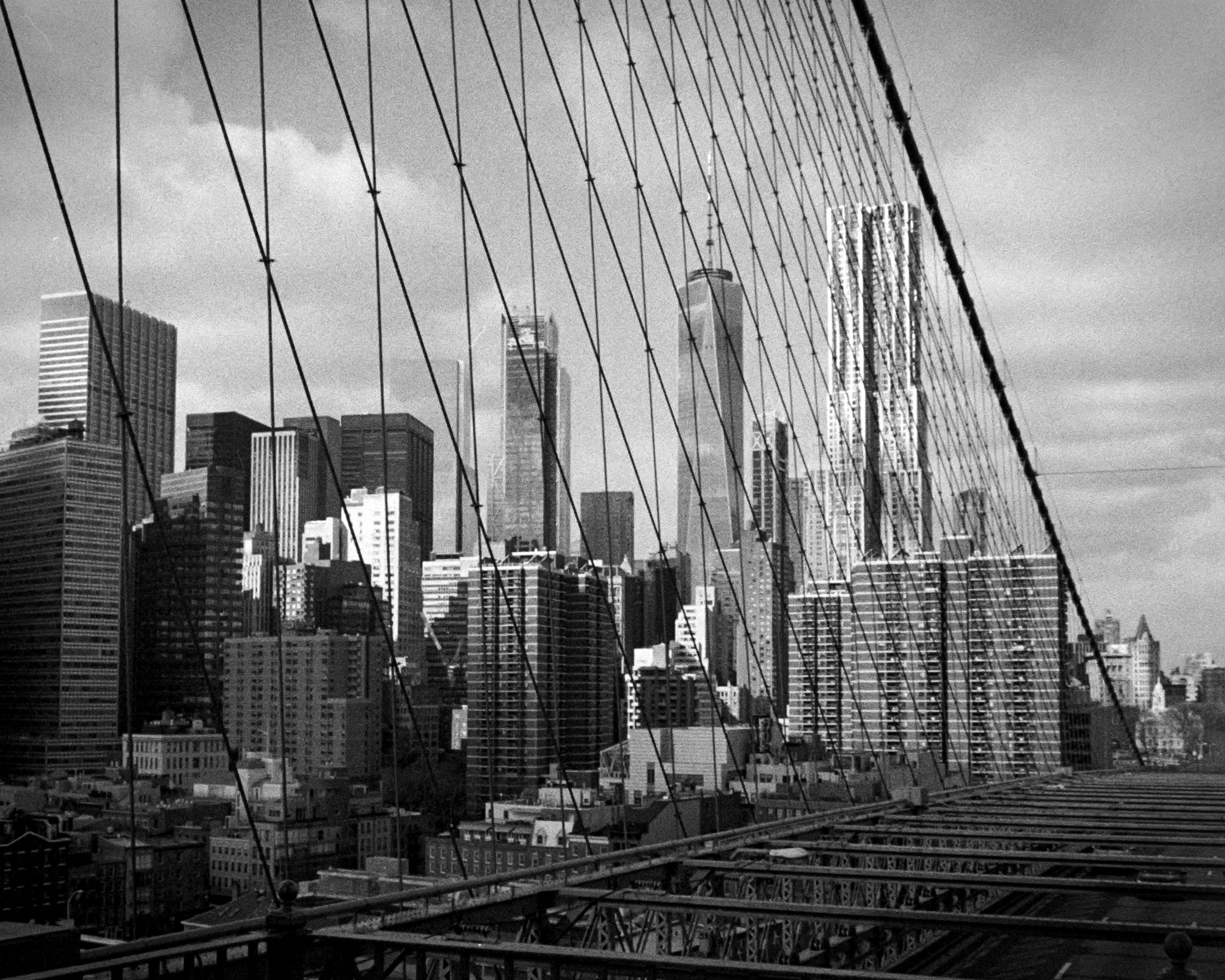 New York downtown from Brooklyn Bridge