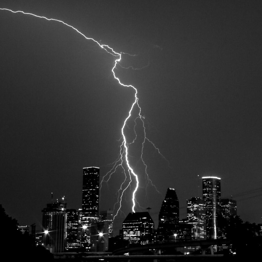 Lightning fork over downtown Houston