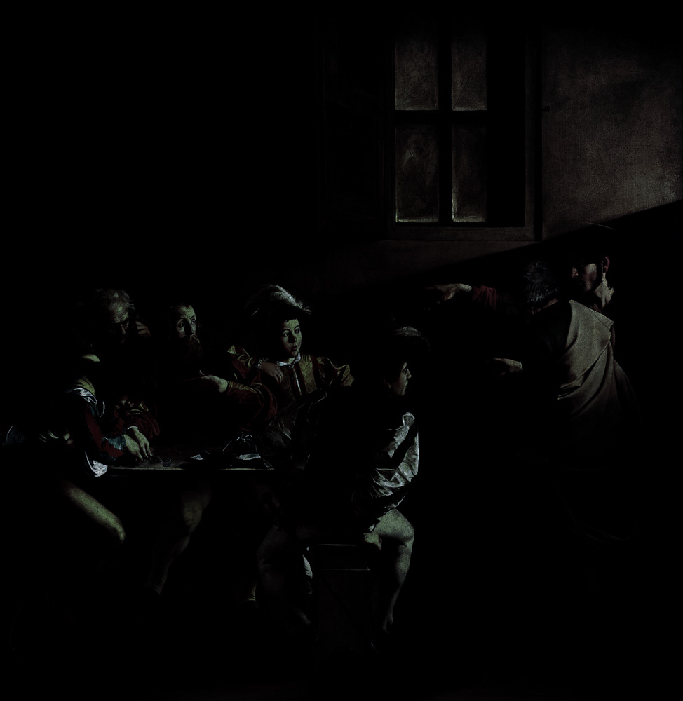 A simulation of the painting by natural church window light as it looks in Rome.