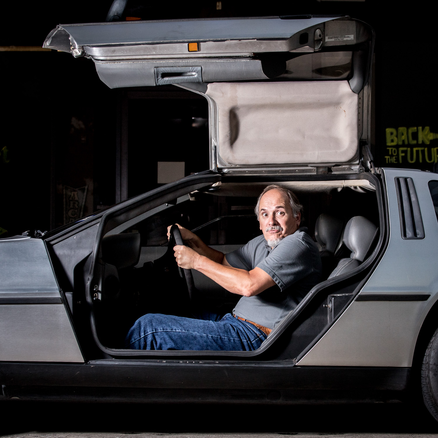 Rusty portrait in his DeLorean Houston