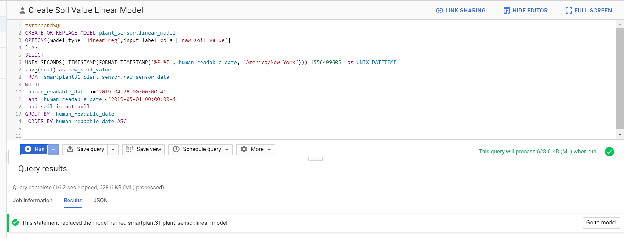 Creating the Linear Regression Model in BigQuery