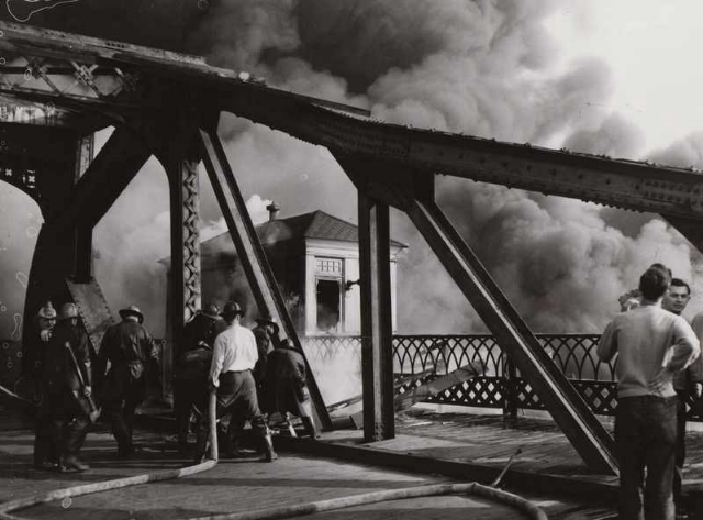 1952 Cuyahoga River fire. Photo courtesy of Cleveland State Library Special Collections via Cleveland Historical.