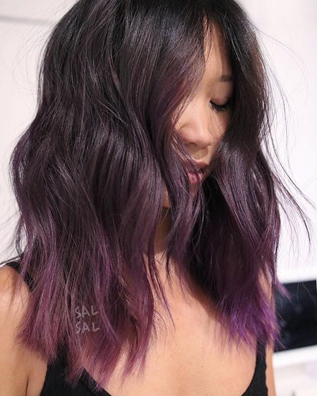 Who would rock this shade??? 🙋#Repost @salsalhair ・・・ Purple ☔️ Color @mizzchoi Cut/Style @salsalhair  #salsalhair #mizzchoi #purplehair #effortlesshair #doneundone #texture