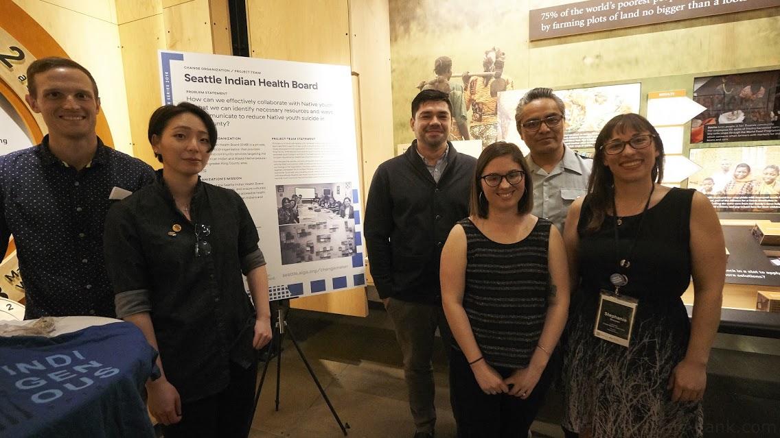From Left: Evan Dull (Visual Design), Anatolia Au (Research), Brad Angerman (SIHB), Marvin Paddock (SIHB), Alyson Dietz (UX), Stephanie Shushan (AIGA Liaison)