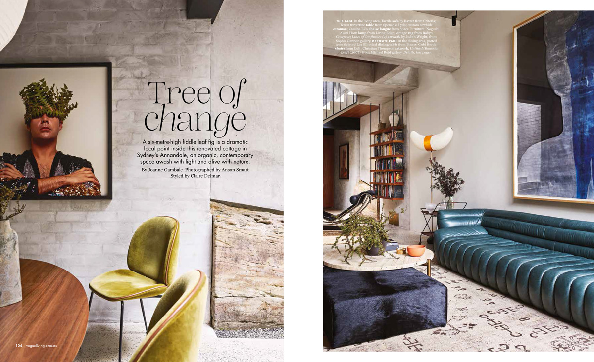Styling the finishing touches to a home with so much personality.  Textured walls, sky high ceiling voids and rich colours throughout allowed us to integrate organic shaped ceramics, glassware and sculptural branches on tables, window sills and across industrial hanging shelves completing the inner city family home for the  Vogue Living  May/June 2019 issue.  Architect  Welsh + Major , Interiors – Furniture/Object/Art  Arent & Pyke , Photographer  Anson Smart , Words  Joanna Gambale