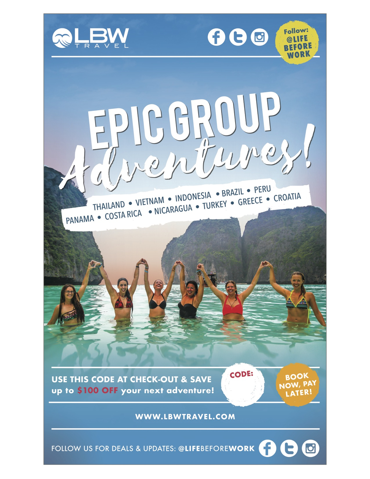 For a chance to WIN a FREE trip and receive up to $100 off on a amazing trip with Life Before Work Travel    CLICK HERE    or click the image above and use the promo code  RIDEORFLY  when you book a trip. DOOO IT ! :).