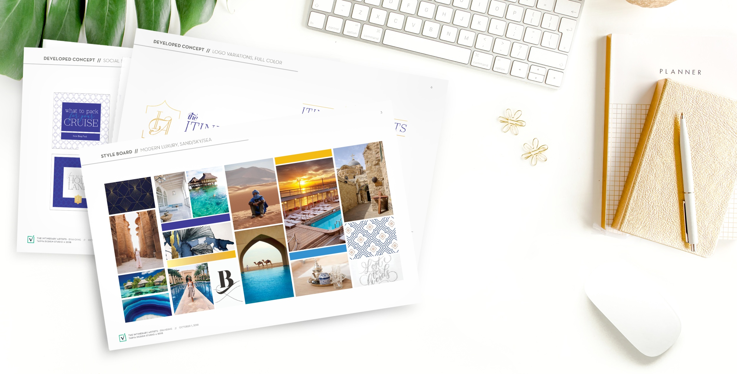 Luxury, hospitality, and warmth - This mood board shows the inspiration for The Itinerary Artist's logo and brand—a modern blending of sand, sun, water, and light to communicate the luxury, hospitality and warmth of their services.