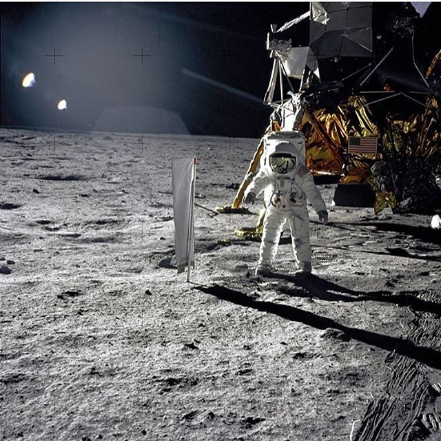 48 years ago this past week, Neil Armstrong and Buzz Aldrin took one small step for man and one giant leap for mankind. 📷 @nasa @drbuzzaldrin #moonlanding #flymetothemoon #goingplaces #moon