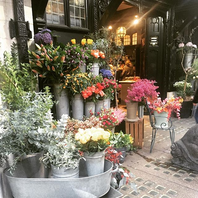Gorgeous fall flower display in front of Liberty of London #moon #travel #london #libertyoflondon #worldtravel