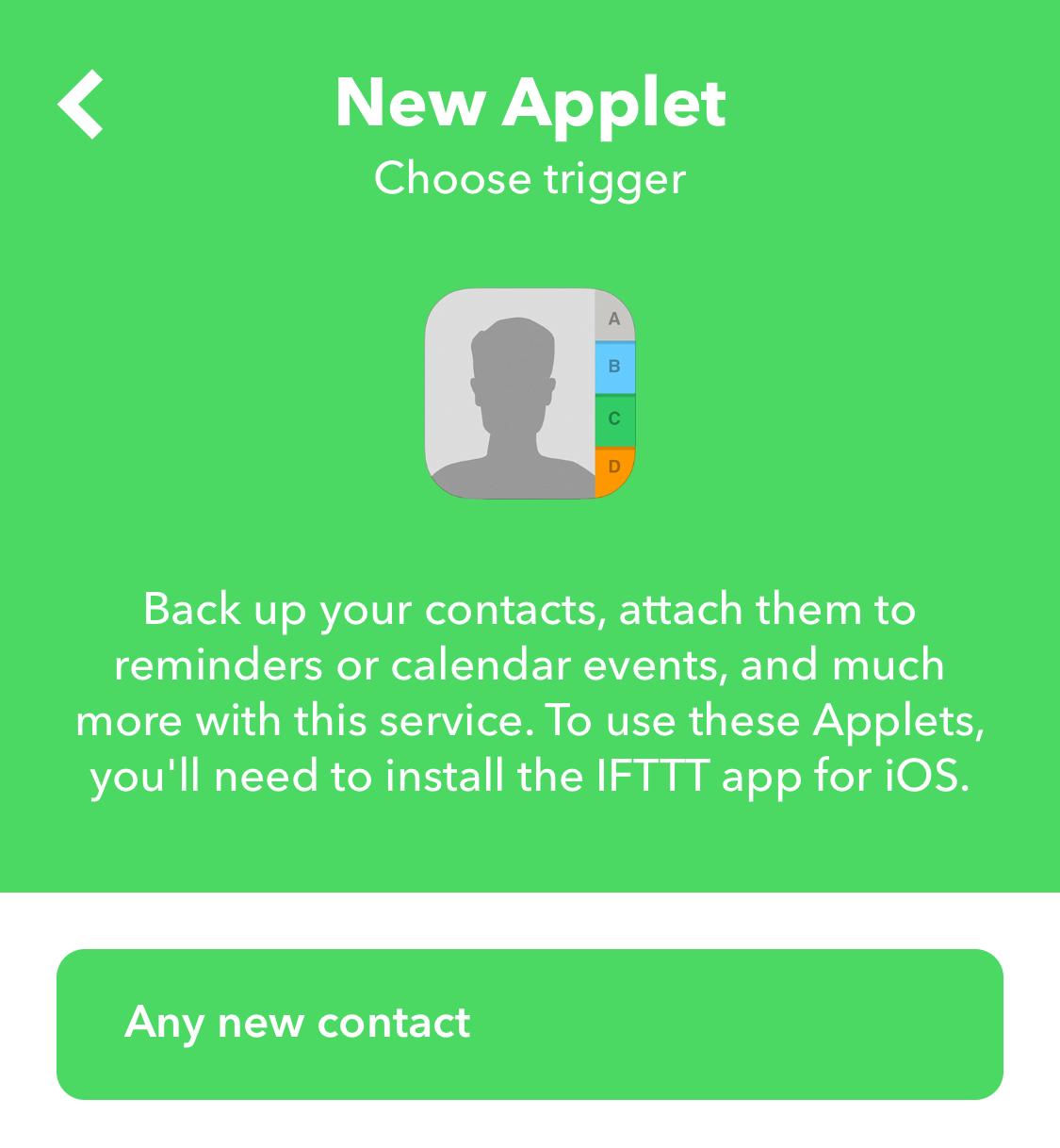 IFTTT Contacts Trigger