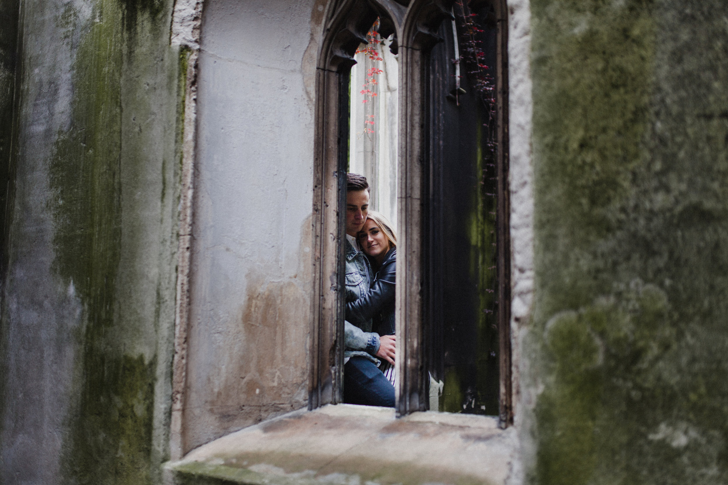 A portrait through a window in the ruins of St Dunstan-in-the-East, which is now a public garden.