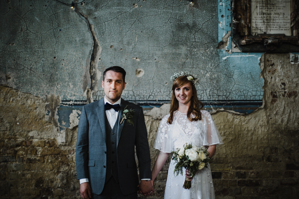 Bride and groom portrait in the Asylum Chapel.