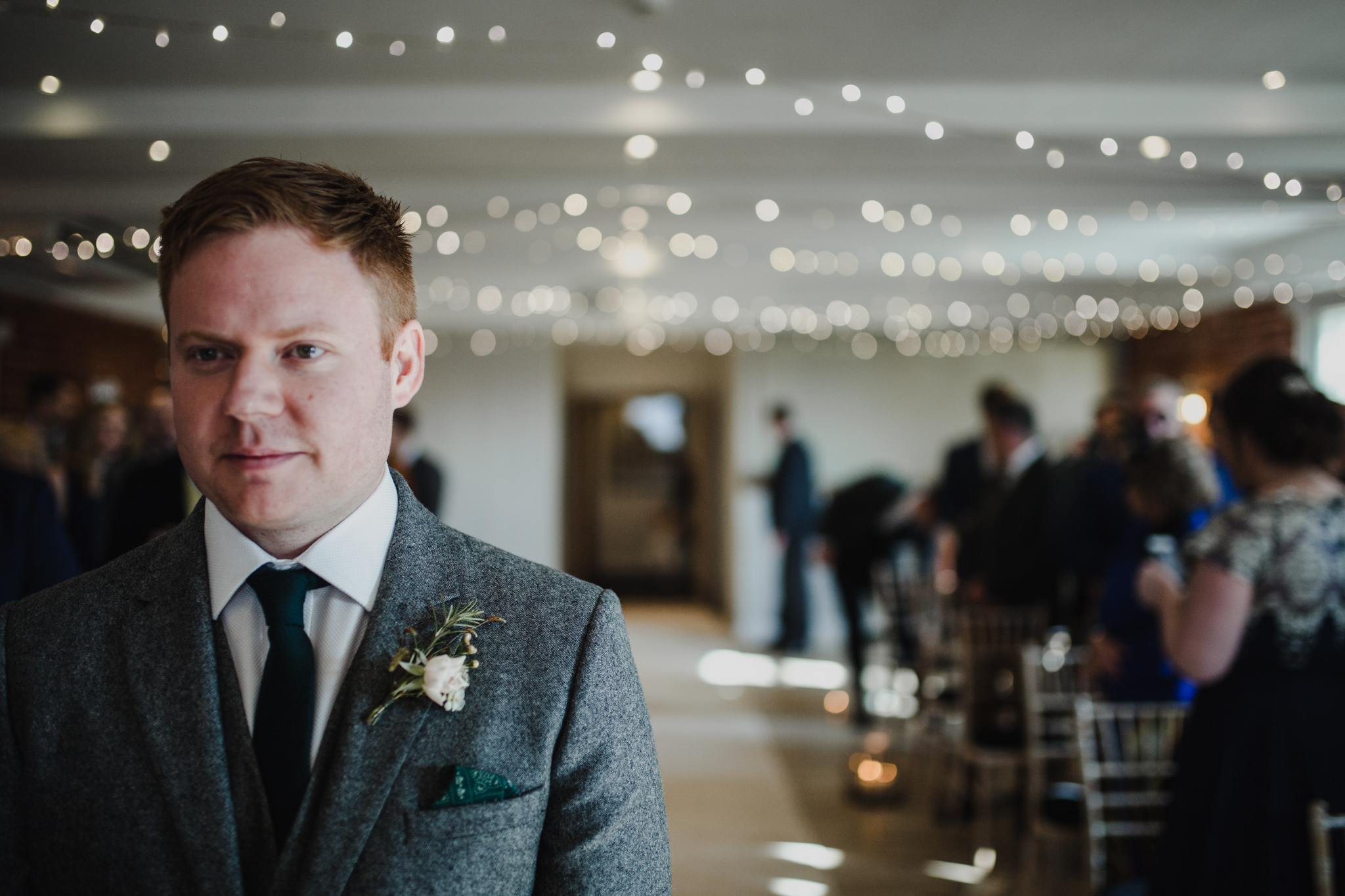 Groom waiting at the aisle at Sopley Mills ceremony room