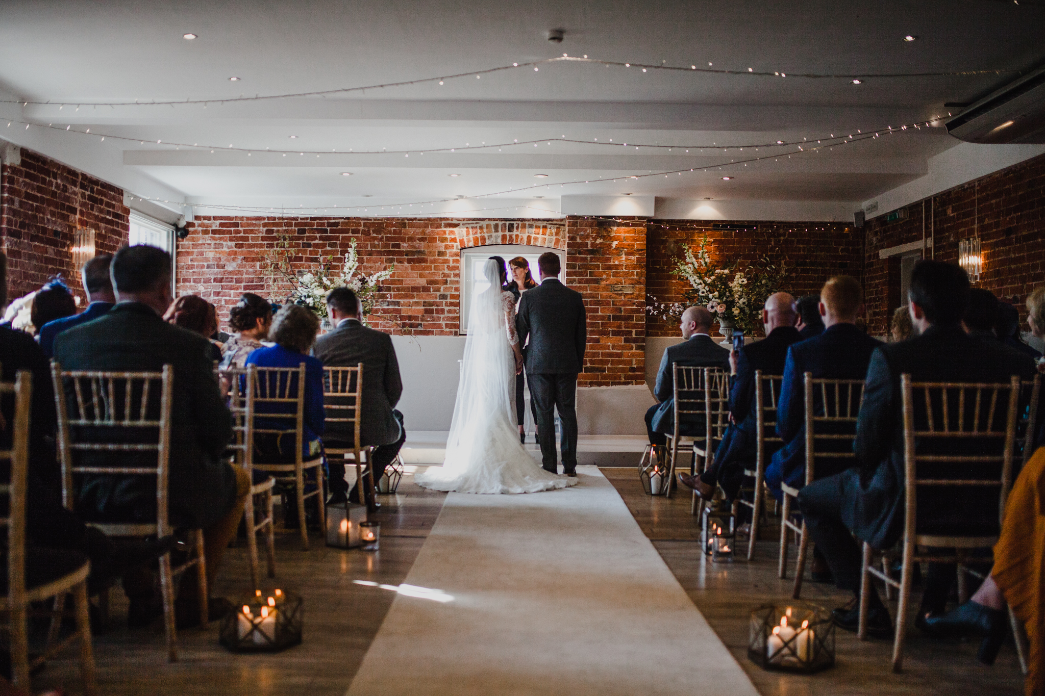 Wide shot of wedding at Sopley Mill