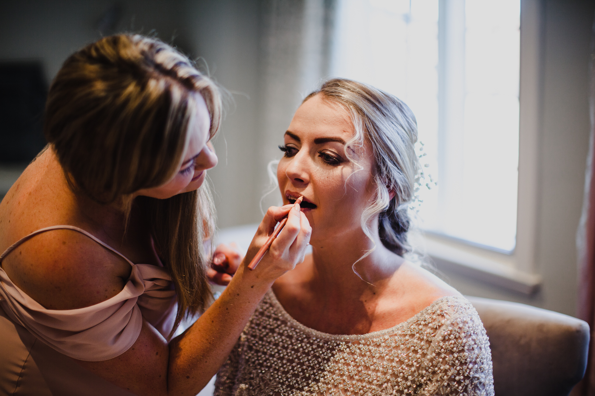 Bride at the Montague arms having her makeup done