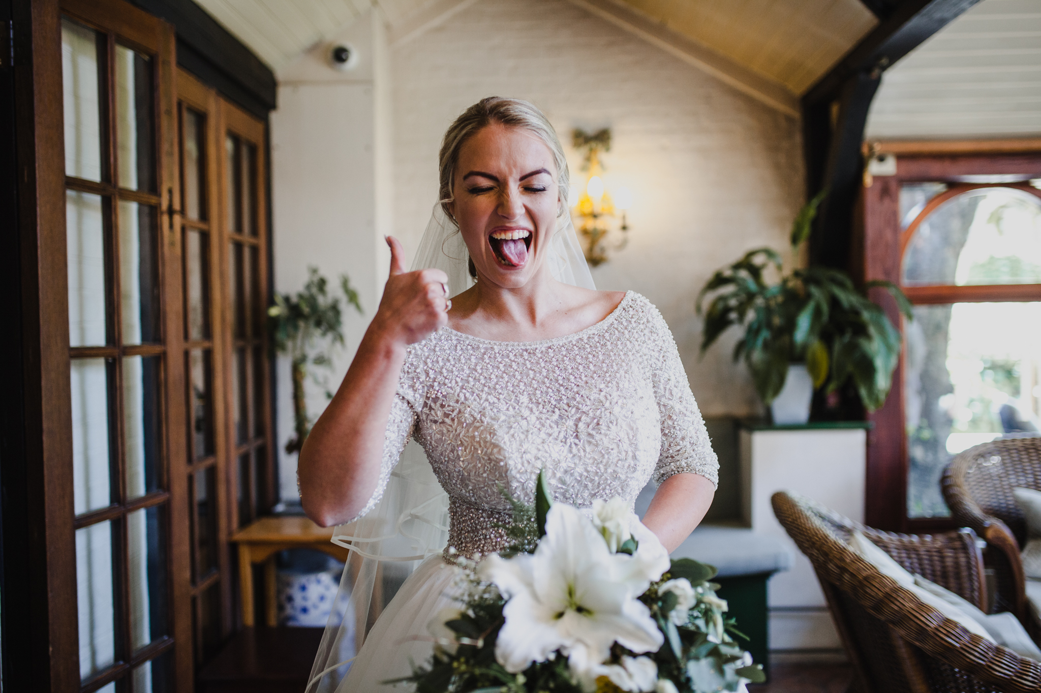 Bride pulling a fun face before the wedding