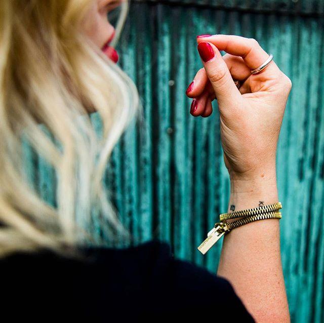 @kelseyeprice wearing our AKIVA gold zipper. Always making a statement. #ofnobleorder