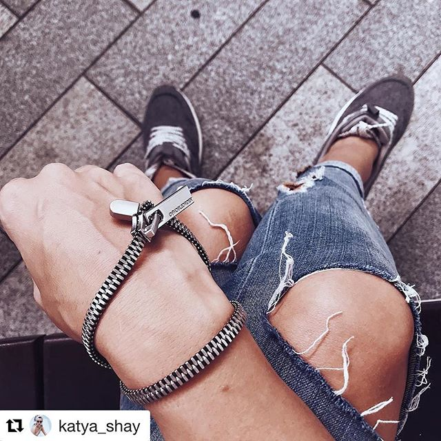 Thanks for sharing!  #Repost @katya_shay (@get_repost) ・・・ Grey on grey. Love this modern zipper bracelet from @ofnobleorder ⚡️
