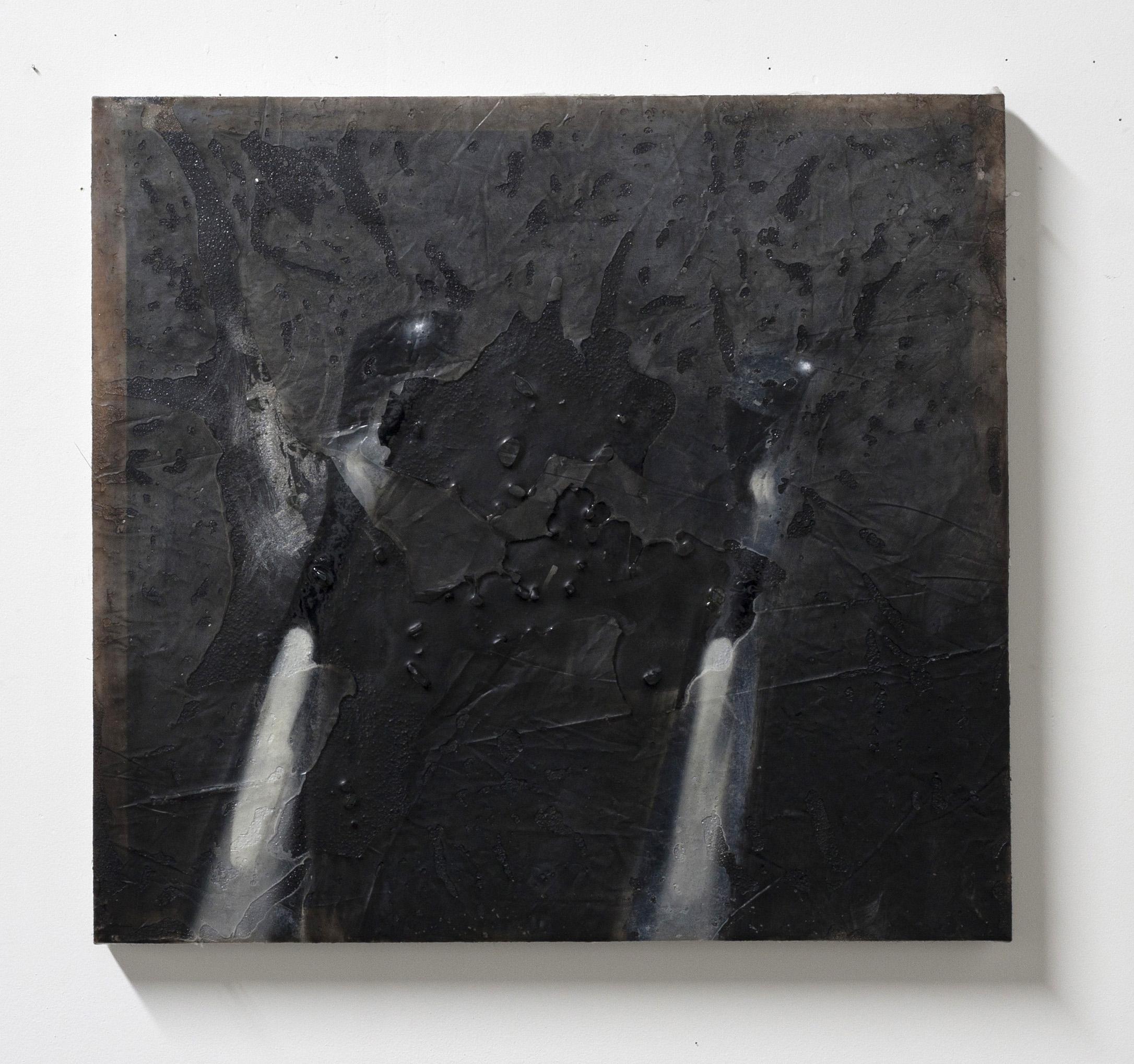 "Hindsight, 2016  oil, resin, glass  17.5 x 19"""