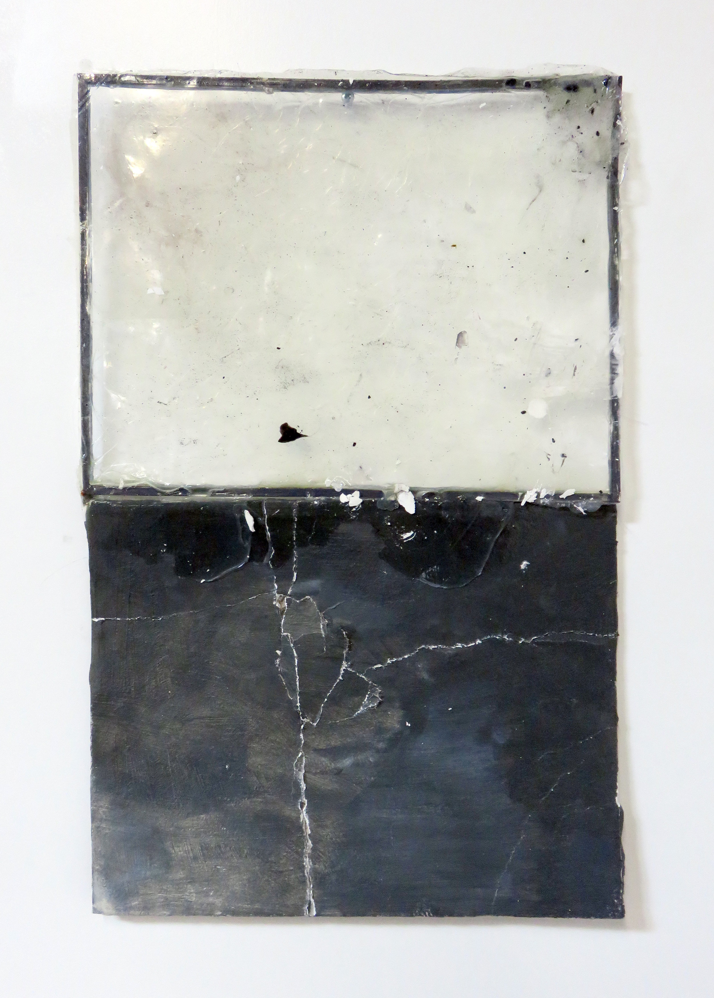 """Puncture (II) , 2014  acrylic polymer, plaster, metal frame  10 x 22"""""""