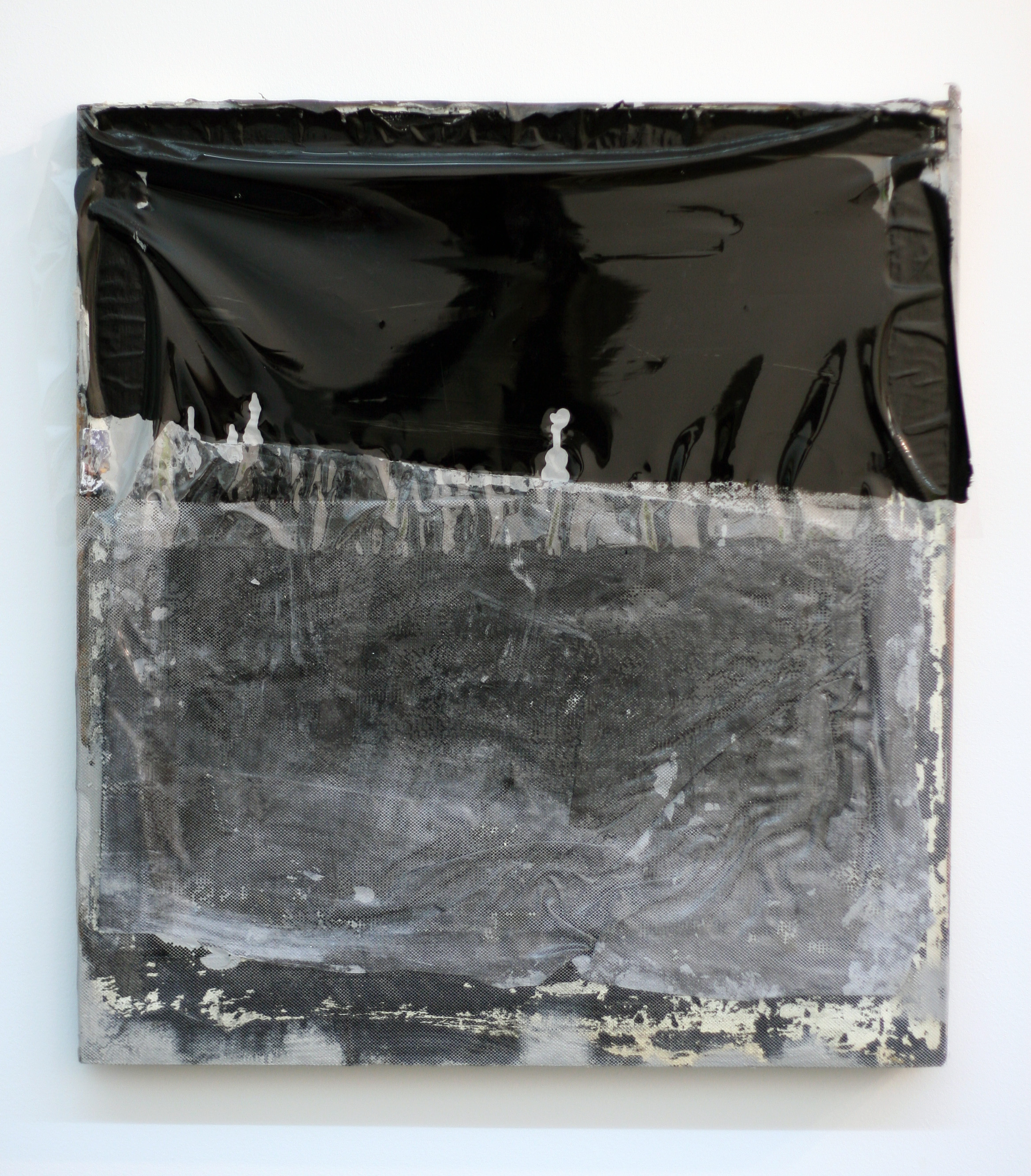 Horizon (II) , 2012  wood, mylar, fabric, polymer, latex  22 x 24""