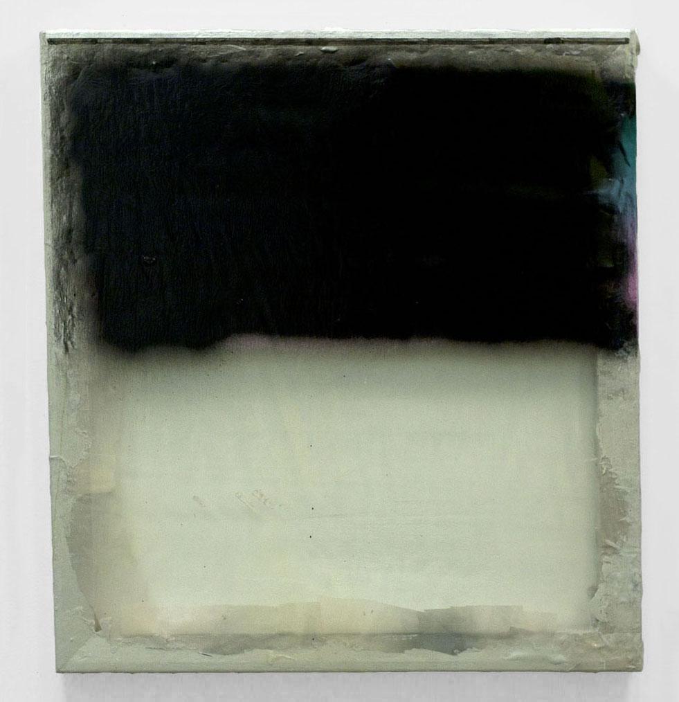 "Horizon, 2011  wood, acrylic spray paint, fabric, polymer  22 x 24"""